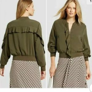 Who what wear olive green ruffle bomber jacket